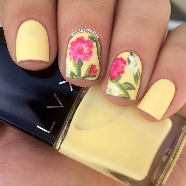 22 Matte Yellow Nail Design