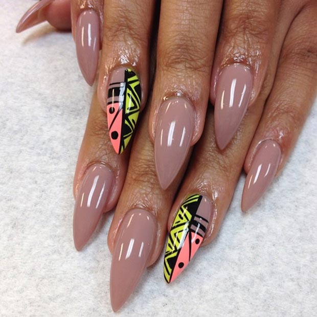 22 Nude + Tribal Accent Nail