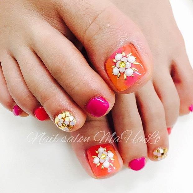 22 Pink & Orange Nails Gold Details