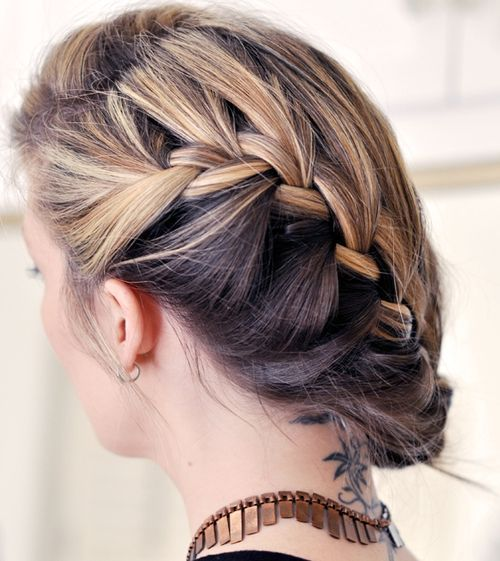 22 low updo with side french braid