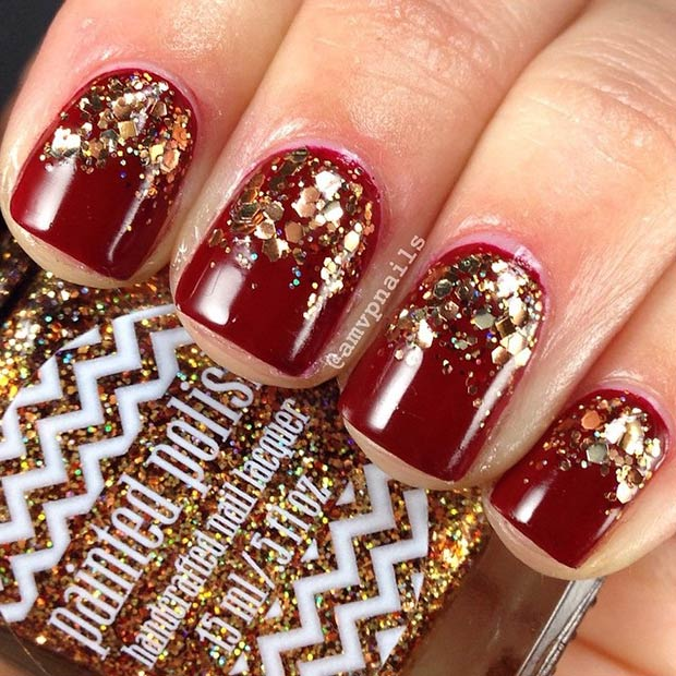 23 Dark Red Nails + Gold Glitter - 35 Cool Nail Designs To Try This Fall – Page 23 – Foliver Blog