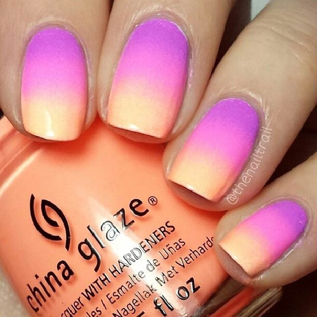 23 Purple, Pink and Peachy Ombre Nails
