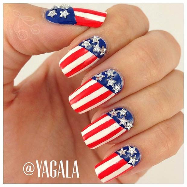 24 Patriotic Long Nail Design