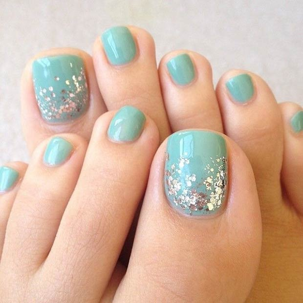 24 Simple Turquoise Nails + Silver Glitter