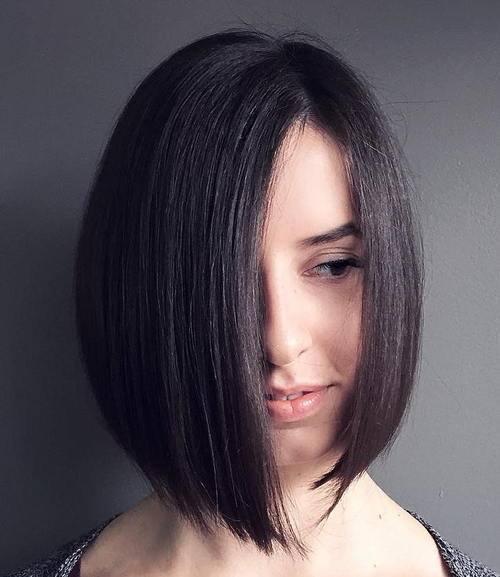 24 asymmetrical angled brunette bob