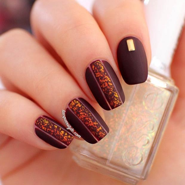 25 Dark Matte Nail Design - 35 Cool Nail Designs To Try This Fall – Page 25 – Foliver Blog