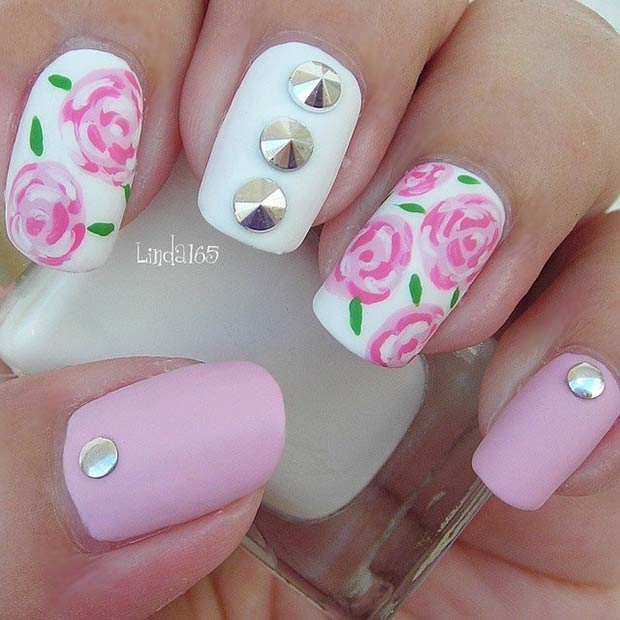 25 Pink and White, Matte Nails