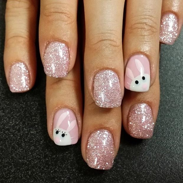25 Sparkly Pink Nails