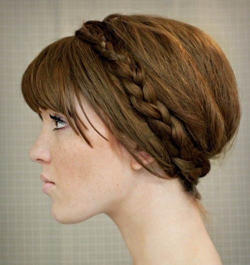 25 maiden updo with a delicate headband braid
