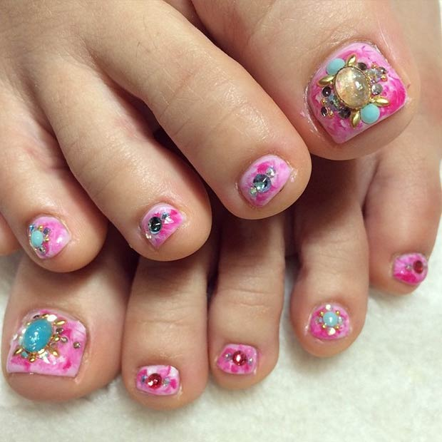 26 Pink Nails Colorful Rhinestones Design