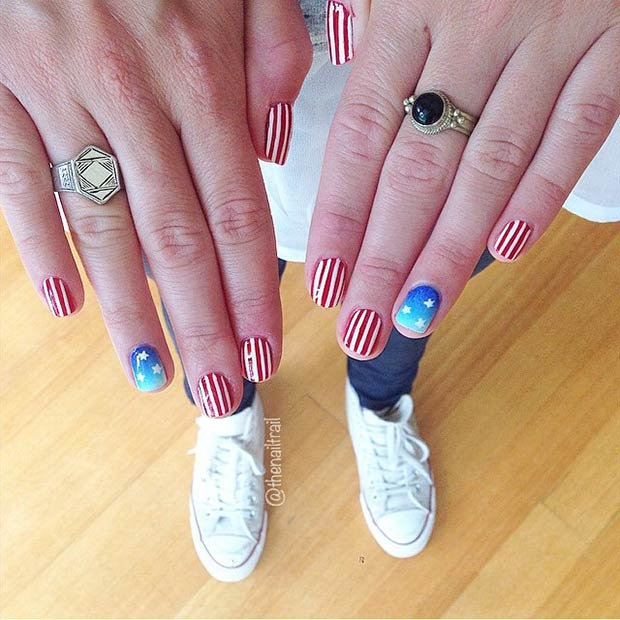 26 Red White Striped Nails + Blue Accent Nail