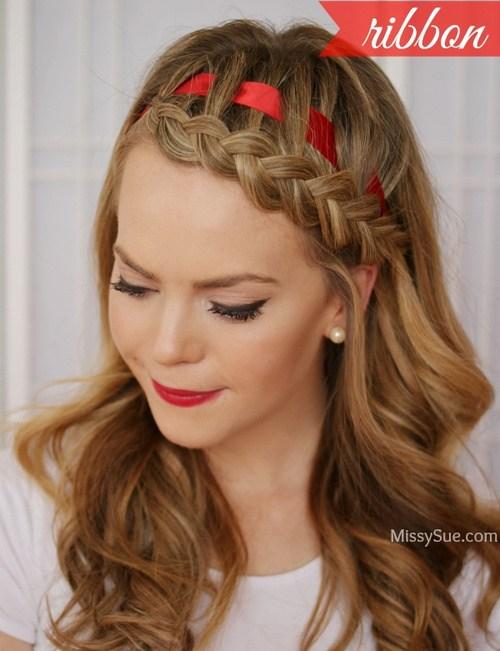 26 stylish braided bang hairstyle with a ribbon
