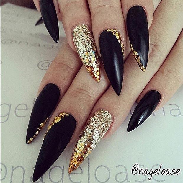 30 creative stiletto nail designs page 27 foliver blog 27 black gold prinsesfo Images