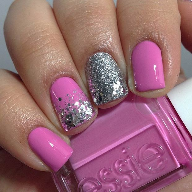 27 Pink and Silver Glitter Nails