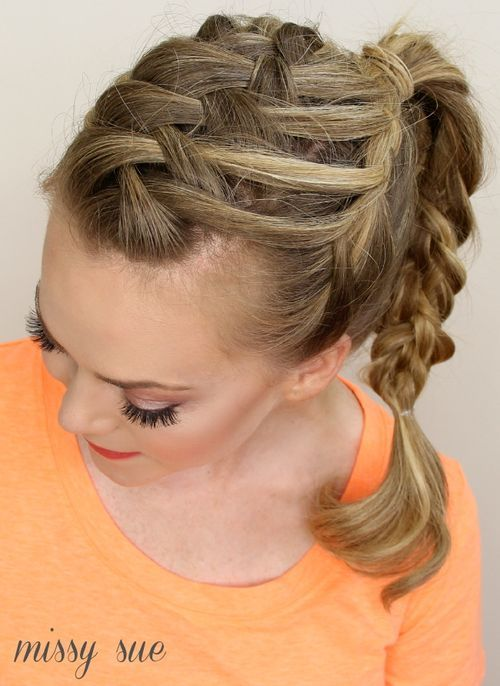 27 lattice weave with high braided ponytail