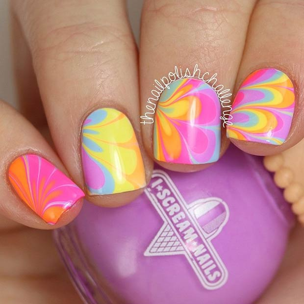 28 Colorful Water Marble Nails