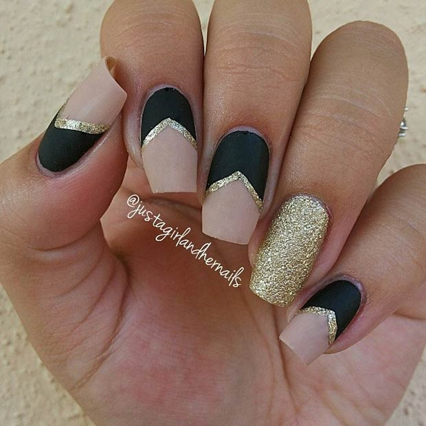 50 best nail art designs from instagram page 28 foliver blog 28 matte black nude nails gold details prinsesfo Gallery
