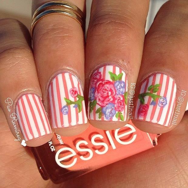 28 Peachy Stripes + Flowers