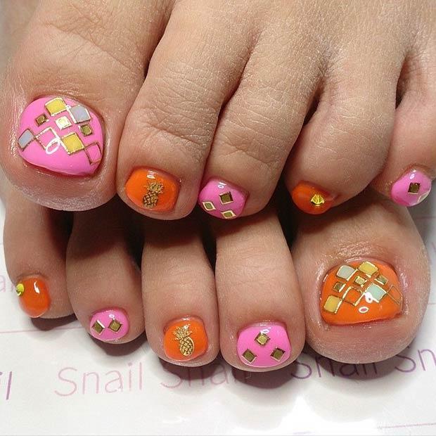 29 Pink, Orange and Gold Design