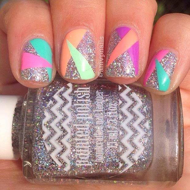 29 Silver Glitter + Colorful Triangles