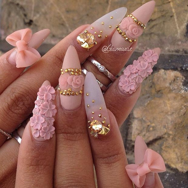 30 creative stiletto nail designs page 3 foliver blog 3 matte pink gold details prinsesfo Choice Image