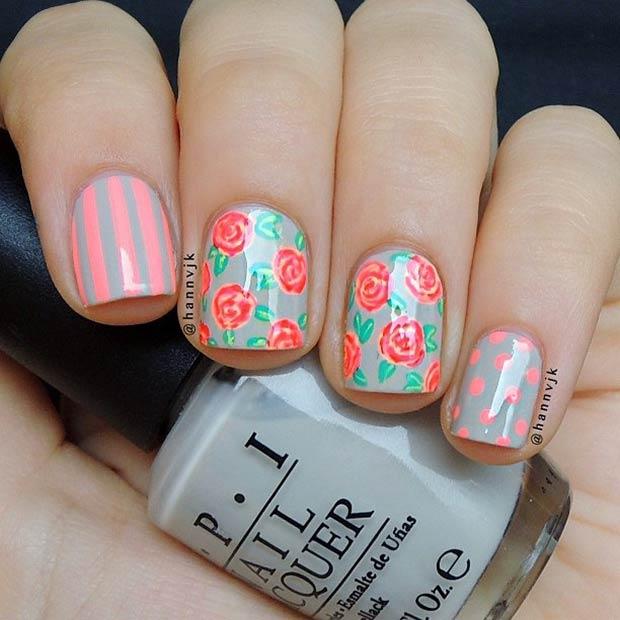 3 Mixed Pattern Nail Design