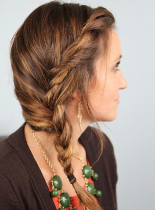 3 messy twist side braid