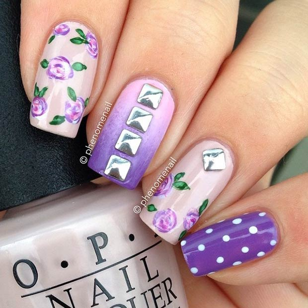 31 Purple Flowers + Studs Design