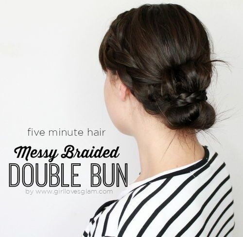 33 messy bun with french braids