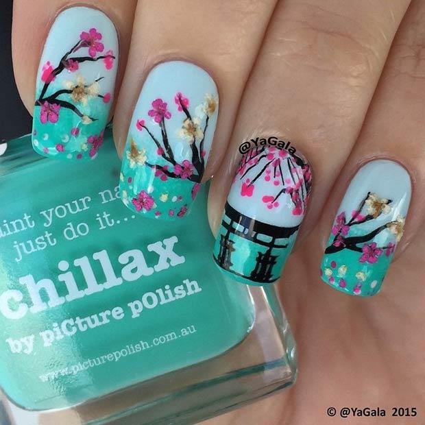 34 Flower Tree Nail Design
