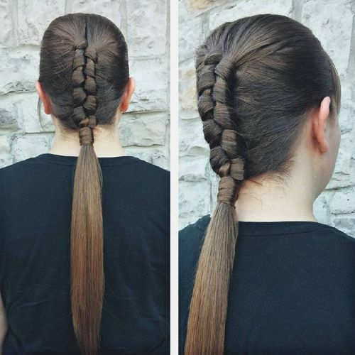 34 tight braid into pony hairstyle