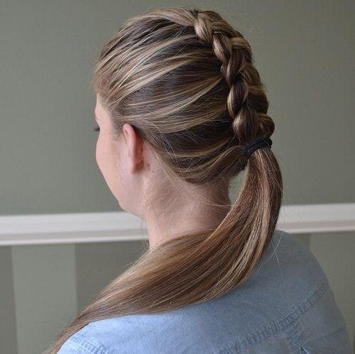 35 Dutch braid and low ponytail