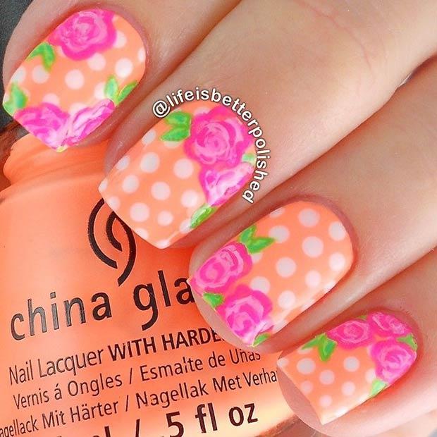 35 Neon Orange Polka Dot + Flowers