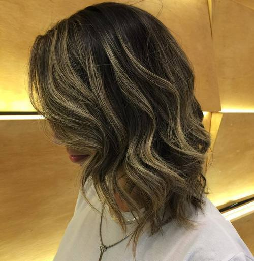 36 shoulder length wavy brown bob with highlights
