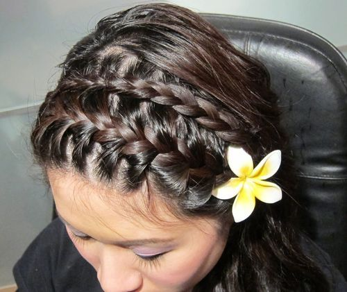 39 two french braid hairstyle with flower