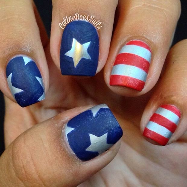 4 Matte Nails Stripes + Stars