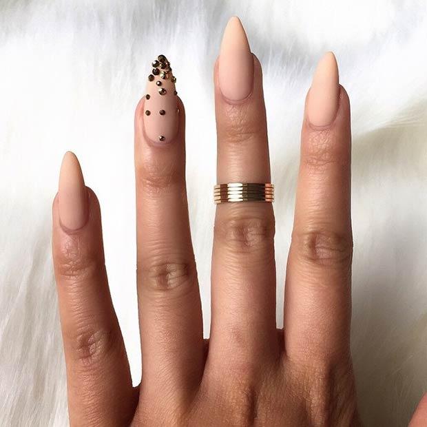 4 Nude Matte Stiletto Nails