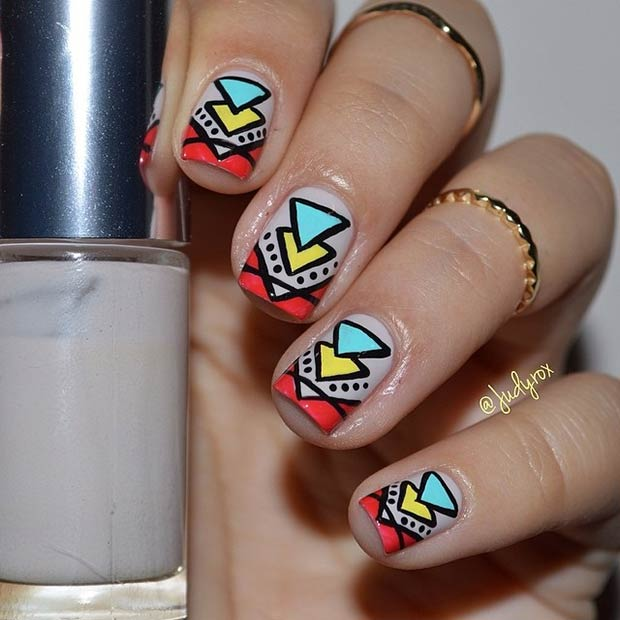 4 Nude Nails + Colorful Tribal Pattern