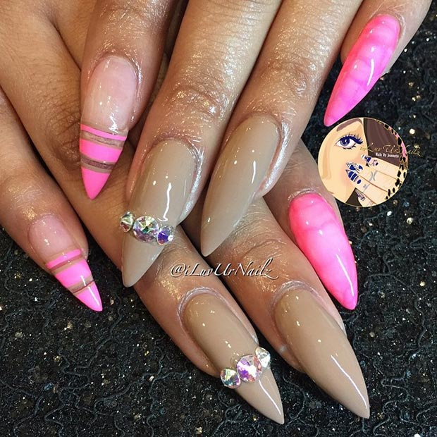 30 creative stiletto nail designs page 4 foliver blog 4 nude neon pink prinsesfo Images