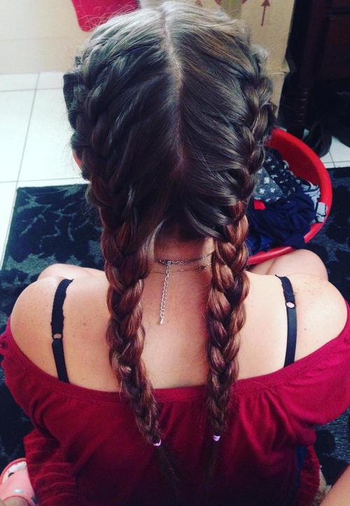 4 two french braids hairstyle