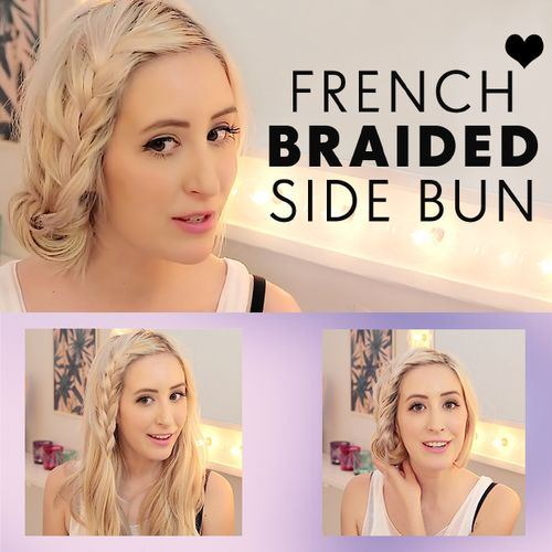 40 braided side bun hairstyle