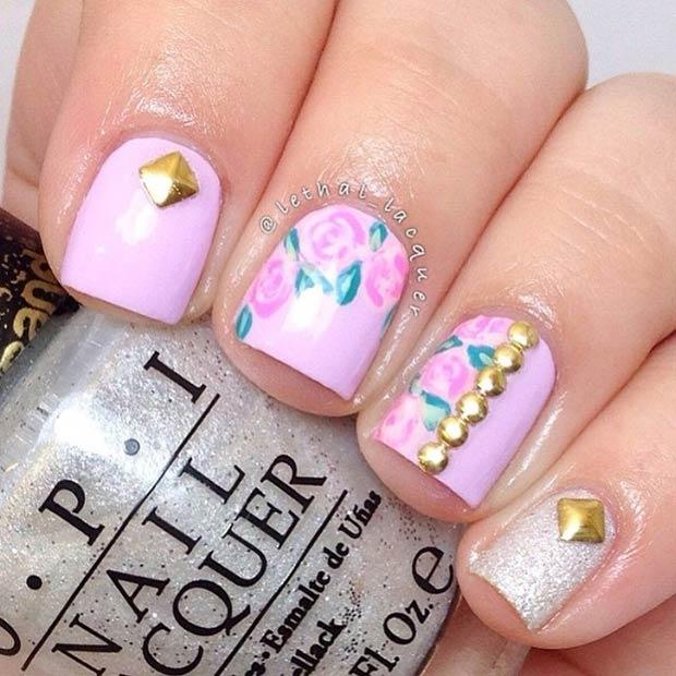 41 Purple Flowers + Gold Studs