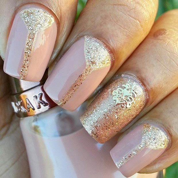 50 best nail art designs from instagram page 47 foliver blog 47 nude gold nails prinsesfo Image collections