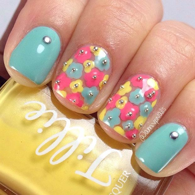 48 Light Blue, Yellow and Pink Flowers