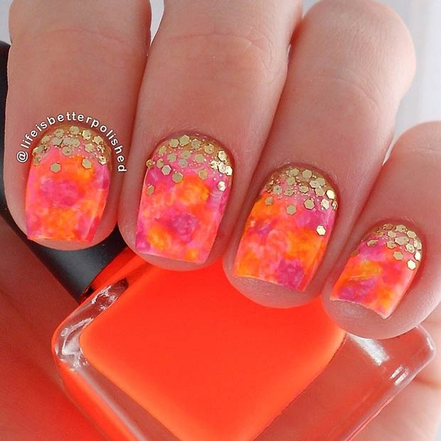 5 Gold Sequins + Neons