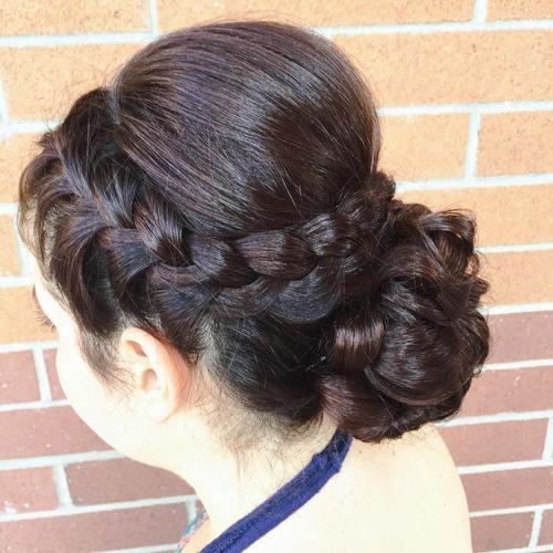 5 crown braid and braided bun updo
