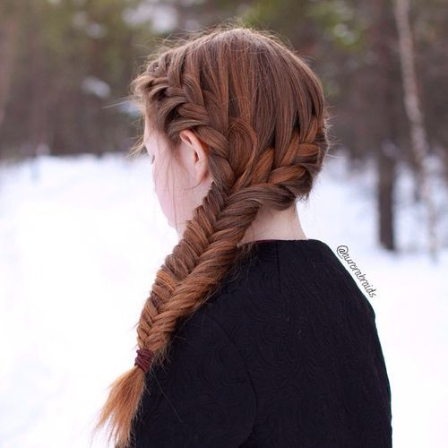 5 side fishtail with two crown braids