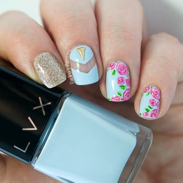 6 Cool Flower Design - 50 Flower Nail Designs For Spring – Page 6 – Foliver Blog