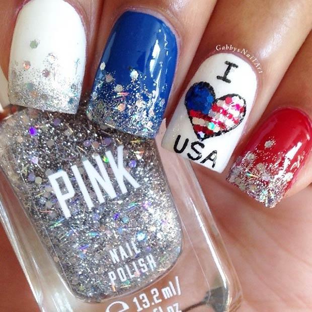 6 I Love USA Accent Nail