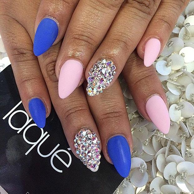 6 Matte Pink & Blue + Rhinestones